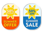 Summer offer and sale 50 percent off discount, two elliptical la — Stock Photo