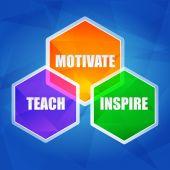Teach, inspire, motivate in hexagons, flat design — Stock Photo