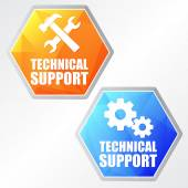 Technical support with tools sign and gear wheels, two colors he — Stock Photo