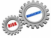 Risk management in silver grey gears — Stock Photo