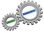 Change management in silver grey gears — Stock Photo