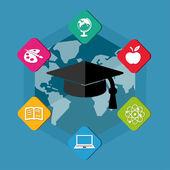 Education signs with graduate cap with tassel in flat blocks — Foto de Stock