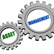 Asset management in silver grey gears — Stock Photo #71984933