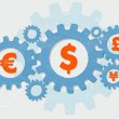 Euro, dollar, pound and yen signs in grunge flat design gears — Stock Photo #71984973
