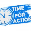 Time for action with clock, blue drawn banner with sign — Stock Photo #77461952