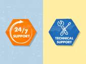 24 7 support and technical support with tools sign, grunge label — Stock Photo