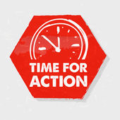 Time for action with clock, grunge hexagon label with sign — Stock Photo