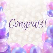 Congrats Card With Balloons — Stock Vector