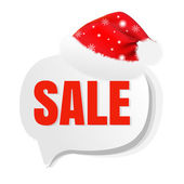 クリスマス セール Speech Bubble サンタ帽子を — ストックベクタ