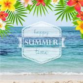 Happy Summer Time Poster With Frangipani — Stockvektor