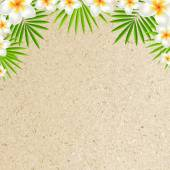 Sand Background With Frangipani — Stock Vector
