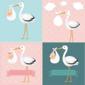 Stork With Baby Set — Stock vektor