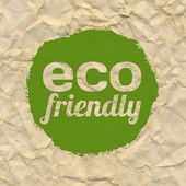 Crushed Brown Paper With Eco Green Label — Stock Vector