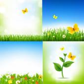 Spring Nature Backgrounds With Grass Border And Flowers — Stock Vector