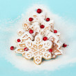 Christmas Tree made of Cookies with Berries — Stock Photo #57838509