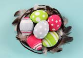 Easter Eggs in Nest — Stock Photo