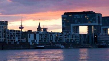 Rhine Harbor Cologne — Stock Video