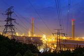 Petrochemical industrial plant at night — Stock Photo