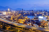 Container terminal and stonecutter bridge in Hong Kong — Stock Photo
