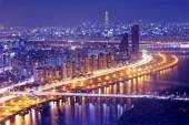 Seul wieża i centrum — Zdjęcie stockowe