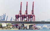 Pojemniki na port handlowy hong kong — Zdjęcie stockowe