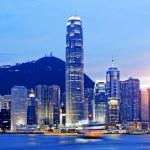Beautiful HongKong cityscape at sunset — Stock Photo #76767943