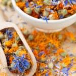 Dried cornflower and marigold tea — Stock Photo #63600071