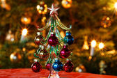 Decoration Glass Christmas Tree in Front of Christmas Tree — Stock Photo