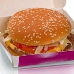 Hamburger in carton — Stock Photo #58724317