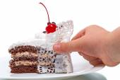 Piece of cake and baby — Stockfoto