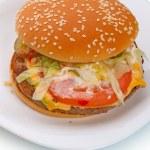 Big hamburger  on a white plate — Stock Photo #70058589