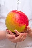 Çocuk büyük bir elma ile — Stok fotoğraf