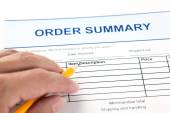 Order summary application form — Stock Photo