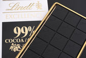 Lindt Excellence Cocoa 99 percent chocolate bar — Stock Photo