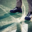 Legs in boots on the ice  — Stock Photo #57536095