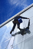 High altitude window washer — Stock Photo