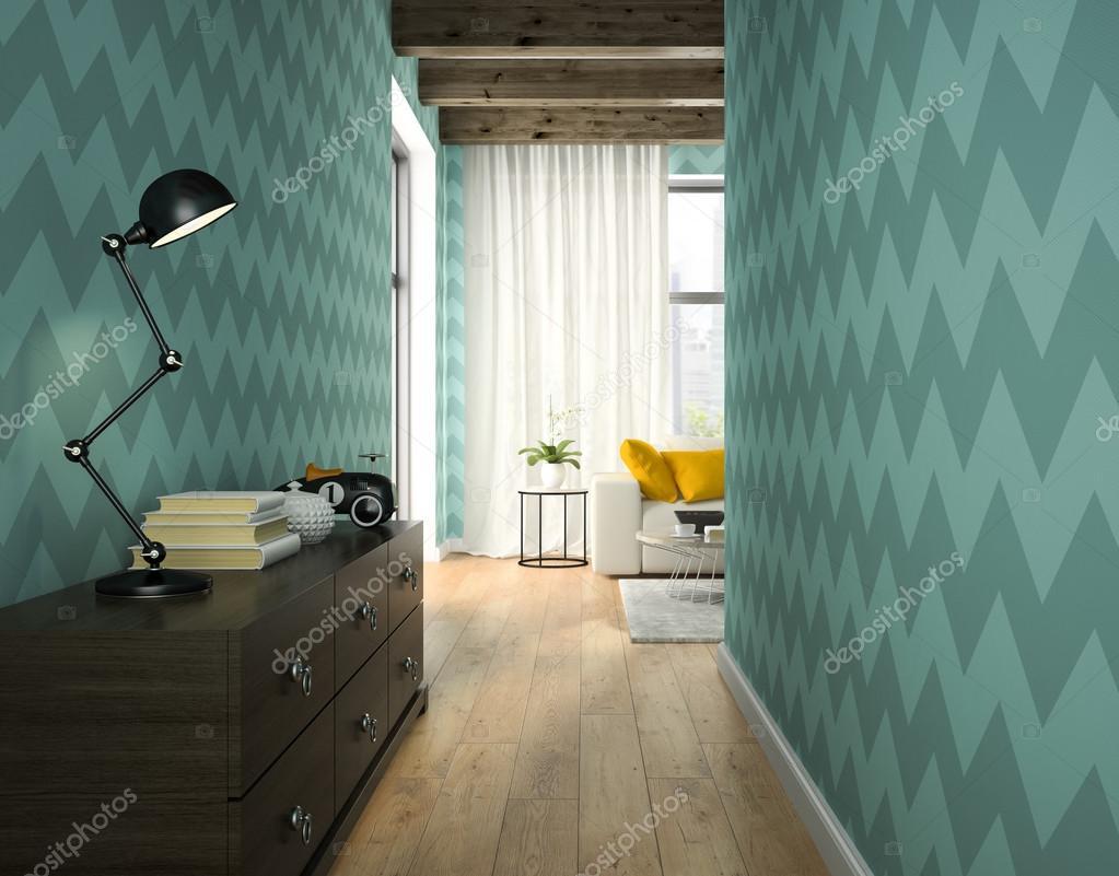 Interno del corridoio con carta da parati blu rendering 3d — Foto ...