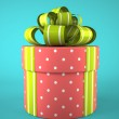 Pink round gift box on blue background — Stock Photo #56414089