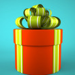 Red round gift box on blue background — Stock Photo #56414093