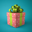 Pink gift box on blue background — Stock Photo #56414113
