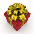 Red gift box with gold bow isolated on white background 4 — Stock Photo #56414639