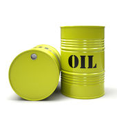 Yellow oil barrels isolated on white background — Stock Photo