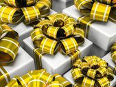 Gift boxes with gold bows — Stock Photo
