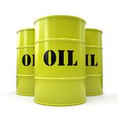 Three yellow oil barrels isolated on white background — Stock Photo