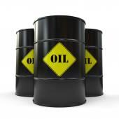 Three Black oil barrels isolated on white background — Stock Photo