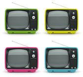 Multicolored retro TV on white background — Stock Photo