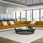 Interior modern design loft with orange sofa 3D rendering — Stock Photo #82829050