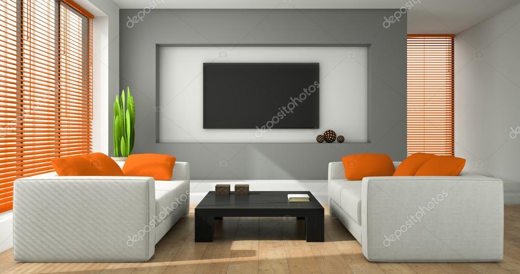 Interior de la sala de diseño moderno con cortinas naranja 3d ...