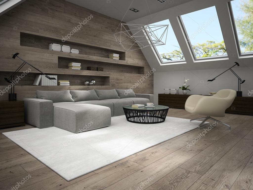 Interni della camera elegante mansarda rendering 3d 4 — Foto Stock ...