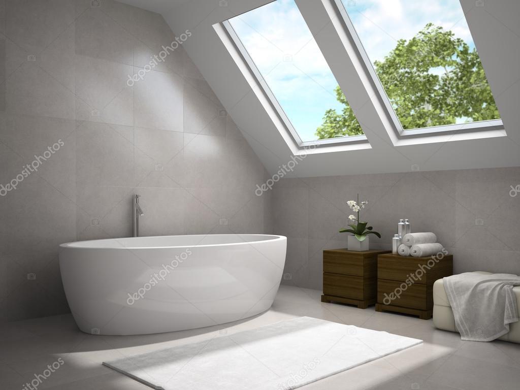 Interiör av modernt badrum med trä skåp 3d rendering 3 ...